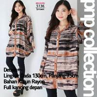 pnp Kemeja Wanita Jumbo Baju Atasan Bigsize Rayon Motif Lengan Panjang - 5136 Brown