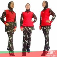 setelan baju senam army merah bahan denim spandex katun