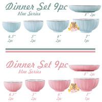 Dinner Set 9pc Labu Piring keramik mangkok korea Pumpkin Bowl set PINK