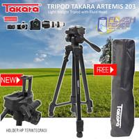 Tripod Takara ARTEMIS 203 Fluid Head with Built In Phone Holder HP