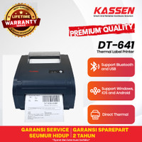 KASSEN DT- 641 PRINTER BARCODE STICKER CETAK THERMAL (USB+BLUETOOTH)