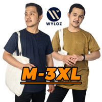 Baju Kaos Distro Polos Kantong Cowok Pria Soft 24s Premium Murah Wyloz