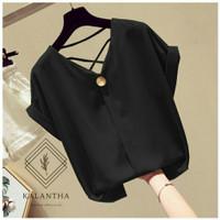 Blouse/atasan/kemeja/pakaian wanita/baju wanita warna hitam/murah/unik