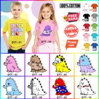Baju Kaos ANAK DAN DEWASA DINO PINK COUPLE (FREE NAMA) - Kaos Putih, Size 0 (6-12bln