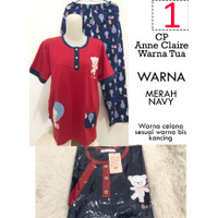 Babydoll CP Celana Panjang Merah Navy Anne Claire Lily White