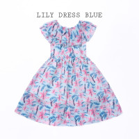 TOKYOBEERY LILY DRESS BLUE BAJU TERUSAN SABRINA ANAK PEREMPUAN IMPOR - DRESS BLUE, 120