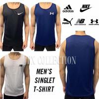 Pakaian Olahraga Pria / Kaos Singlet Training Fitness Gym - PUTIH - M, NEW BALANCE