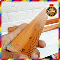 ASLI KAYU Penggaris Mistar Kayu 1 1/2 METER 50 100 cm 50CM JIDAR KAYU - PENGGARIS 50 CM
