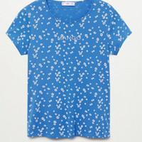 KAOS WANITA T-SHIRT MOTIF MANGO ORIGINAL - biru bunga, L