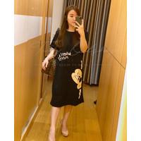 Dress kaos santai wanita import motif mickey minnie