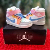 Sepatu anak perempuan nike jordan putih biru orange premium - 20