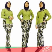 baju senam wanita setelan hijau army bahan denim spandex katun - kerah wangki, M