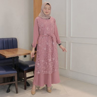 Dress Muslim Fashion Gamis Brukat - Aluna Maxi Dress - Merah Muda