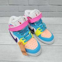 Sepatu anak Perempuan nike jordan 1 high rainbow blue pink white - 21-26 VIA CHAT