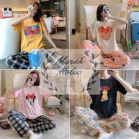 Piyama Wanita Baju Tidur Lengan Pendek Celana Panjang - Doraemon