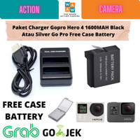 Paket Charger Gopro Hero 4 Dan Battery Black Atau Silver Free Case - PAKET 1