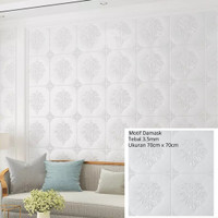 Wallpaper Stiker Dinidng 3D Foam Motif Damask 70cm x 70cm