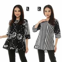 Baju Batik Blouse Kombinasi Motif Monokrom Kombinasi Terbaru