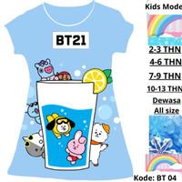 Baju Anak Perempuan Kartun Korea BTS BT21 Usia 2 4 6 8 10 12 14 Tahun