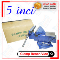 Catok Paron Ragum Bench Vice 125mm Tanggem Meja Putar Bais Besi 5 Inci