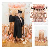 Paket Balon Dekorasi Wisuda Graduation Rose Gold Balo Angka Jumbo 80cm