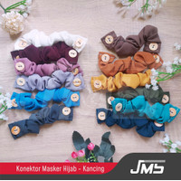 Connector Masker Kain Hijab - Konektor Kancing - Tali Penyambung Polos