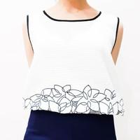 Top wanita putih motif bunga tanpa lengan baju atasan wanita putih gam