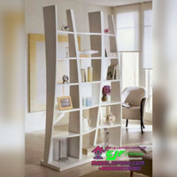 partisi rak buku penyekat ruangan minimalis modern warna putih