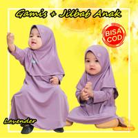 [BISA COD] Baju Gamis Anak Bayi Perempuan Muslim Daily Nuha Lavender - XS