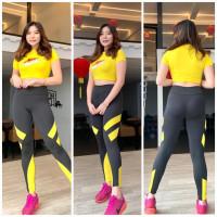 setelan baju olahraga wanita baju senam pendek 337 - Kuning
