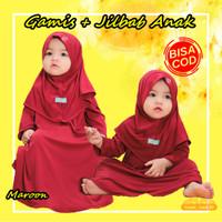 [BISA COD] Baju Gamis Anak Bayi Perempuan Muslim Daily Nuha Maroon - XS