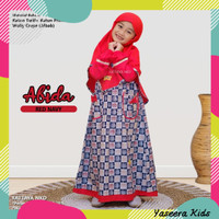 Fattaya Abida Series   Gamis Anak Perempuan   Baju Muslim Anak Cewek - Merah, Size 6