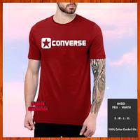 Baju Kaos Distro Converse Pria Wanita Warna Merah Maroon Size S M L XL