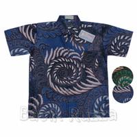 Hem Batik Anak Kombinasi Baju Kemeja Cowok Pria Laki Katun Biru Murah