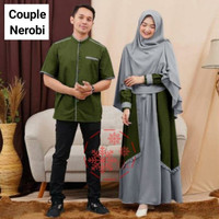 Baju Couple Muslimah Gamis Syari Free Bergo Busui Kemeja Lengan Pendek - Army