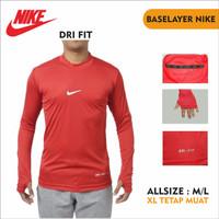 Baselayer Pria Base Layer Nike Sport Kaos Lengan Panjang Olahraga - Putih