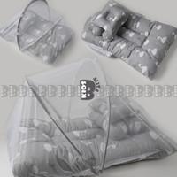 Kasur Kelambu Bayi Set Bantal Guling Premium / Kasur Lipat Kelamb - GRAY SWAN