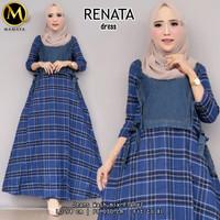 Baju gamis terlaris bahan jeans kombinasi flanel size XL - Renata