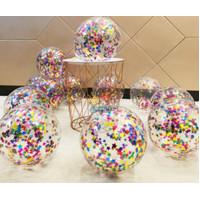 Balon Transparant ISI GLITTER FOIL - GABUS
