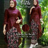 Baju Kebaya Setelan Remaja Fashion Muslim Fitri Batik Set Maroon