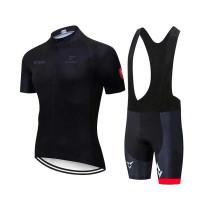 STRAVA Jersey Sepeda Balap Roadbike Pria Celana BIB dan Baju Set Gel - Hitam, M