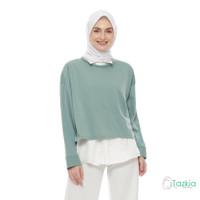 Atasan Muslim Wanita   Kemeja Gwen Hijau   Longsleeve Oversized Blouse