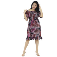 Dress Sabrina/Dress bali casual bahan rayon fit to L - marun