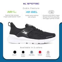 SPOTEC Sepatu Running Cubix Hitam - Putih - 44