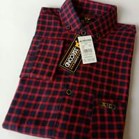 kemeja fanel baju anak remaja/dewasa ukuran L/XL motif kotak kotak - Merah, L