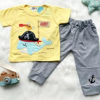 setelan kaos anak laki laki jogger 1-7 tahun pirate whale - Kuning, S