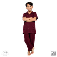 CUIT KIDS Super Soft Premium Viscose Hisha Pajama Unisex Nami Series - Burgundy Wine, S (6-7 Tahun)