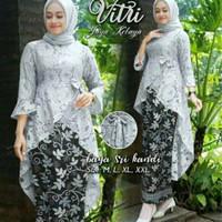Baju Kebaya Setelan Remaja Fashion Muslim Fitri Batik Set Abu Grey