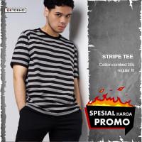 Baju Kaos Oblong Motif Stripe Garis garis T shirt Keren Pria Distro