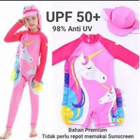 Baju renang unicorn panjang anak set topi swimsuit muslim pink anti uv